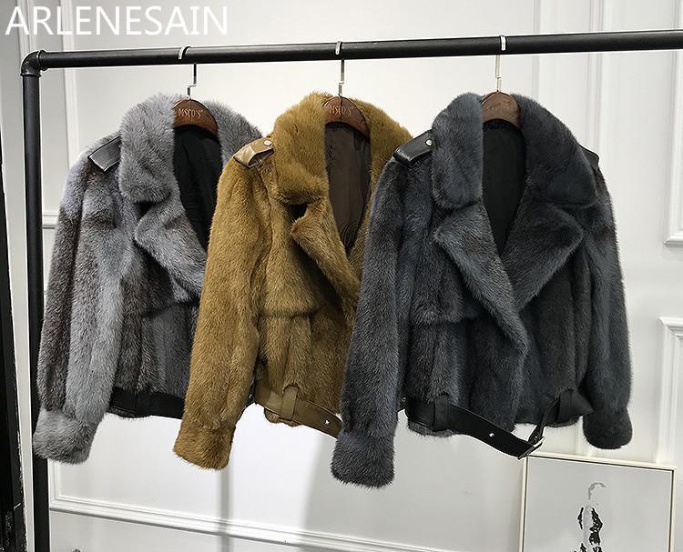Arlenesain 사용자 정의 2021Autumn 및 겨울 밍크 코트 여성 옷깃 짧은 단락 가져온 모피 벨트 여성의 가짜