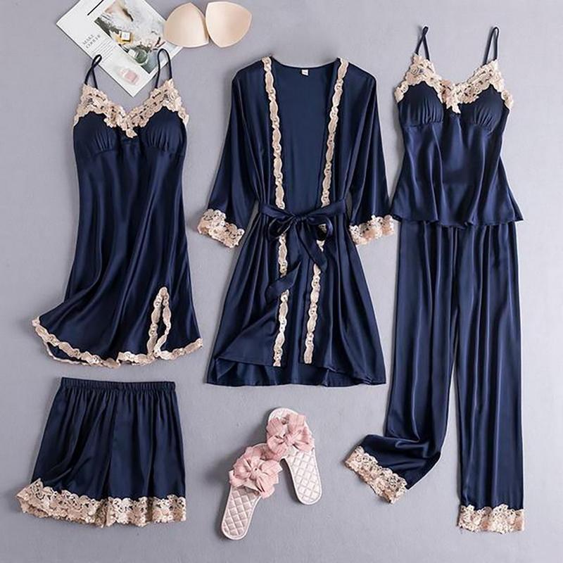Kadın Pijama 5 adet Set Pijama Rahat Kadınlar için Saten Kimono Robe Kıyafeti Dantel Patchwork Gecelikler Bahar Sonbahar Ev Pijama Takım Elbise