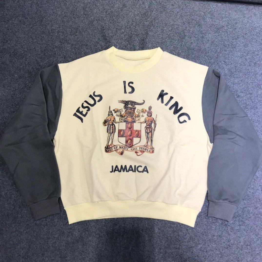 2020ss كاني غرب يسوع هو الملك جامايكا اللون حجب النساء الرجال سوياتشيرتس هوديي الهيب هوب سويت شيرت البلوز
