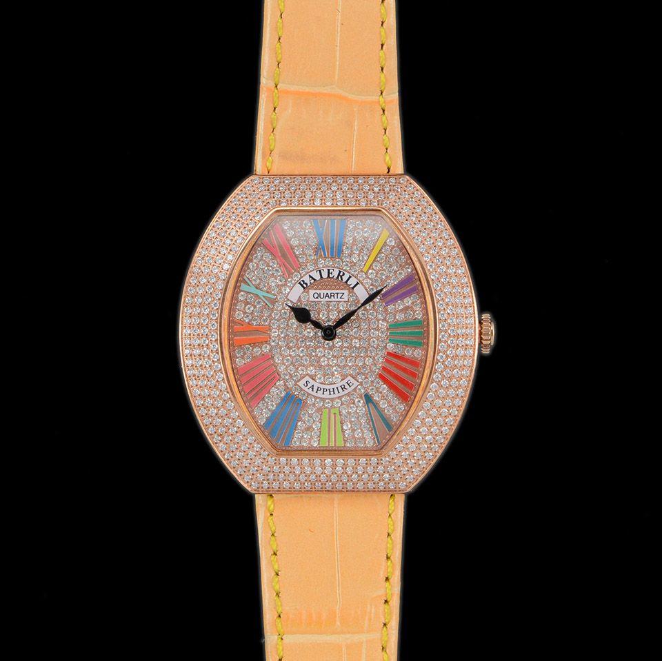Gül Altın Tüm Elmas Buzlu Out Bayanlar İzle Romen Rakamları Sarı Deri Kayış Saatı Kuvars Kadınlar Saat