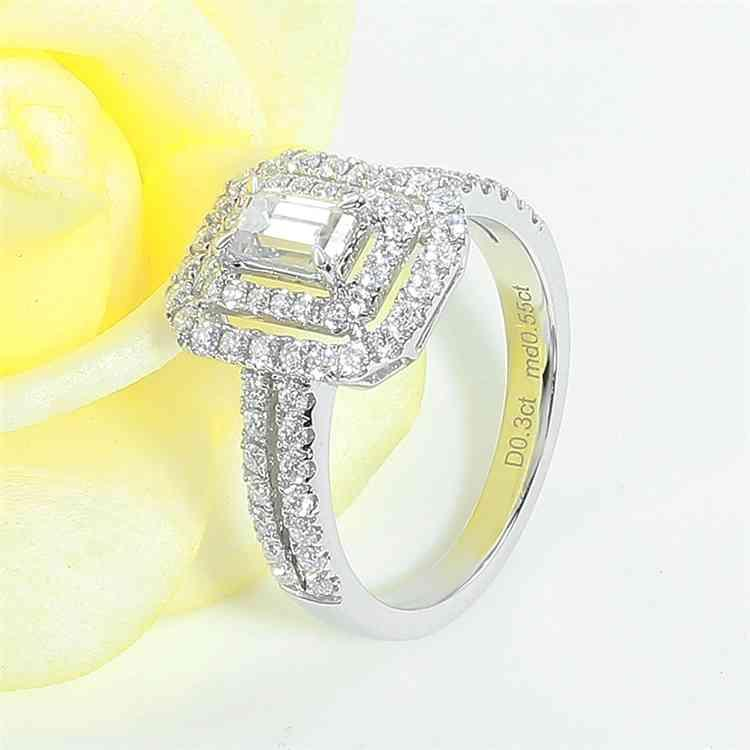 Rings Veryins 14k White Gold Center Emerald Cut Double Halo Moissanite Engagement Ring for Women Aniversary