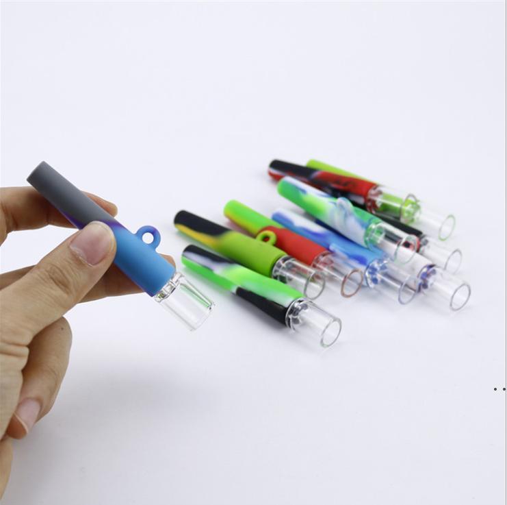 Tabac à frappeur Mini tuyau de tuyau de verre portable eau bongs DAB plate-forme silicone fumer verre bong accessoires de tabac 420 Tuyaux de poignée HWF6146