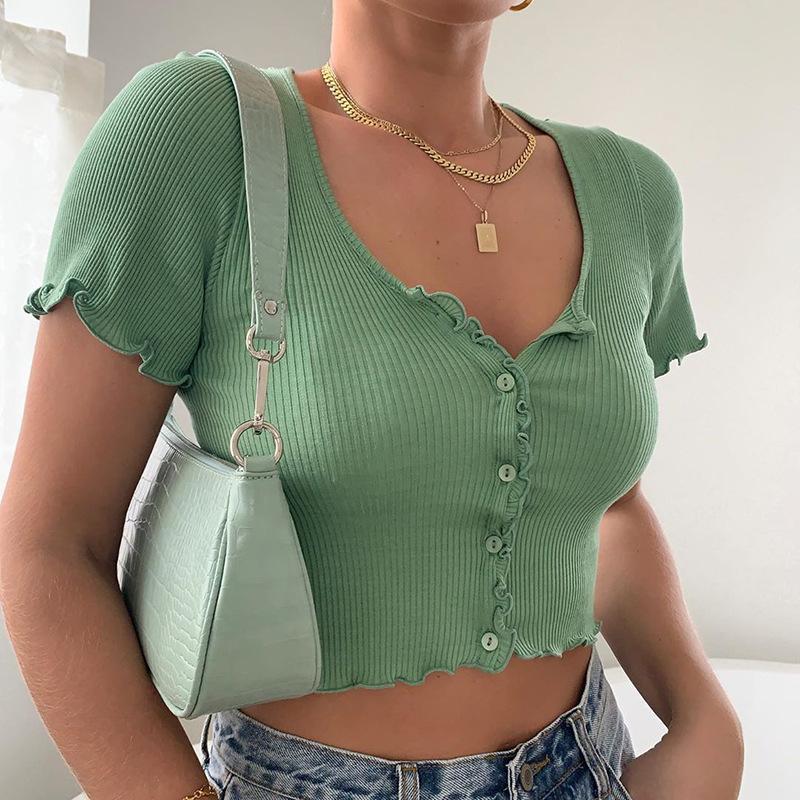 Propcm Casual O Boyun Nervürlü T Gömlek Kadın Kısa Kollu Tops Katı Renk T-shirt Kısa Hırka Yaz Tops Yaz