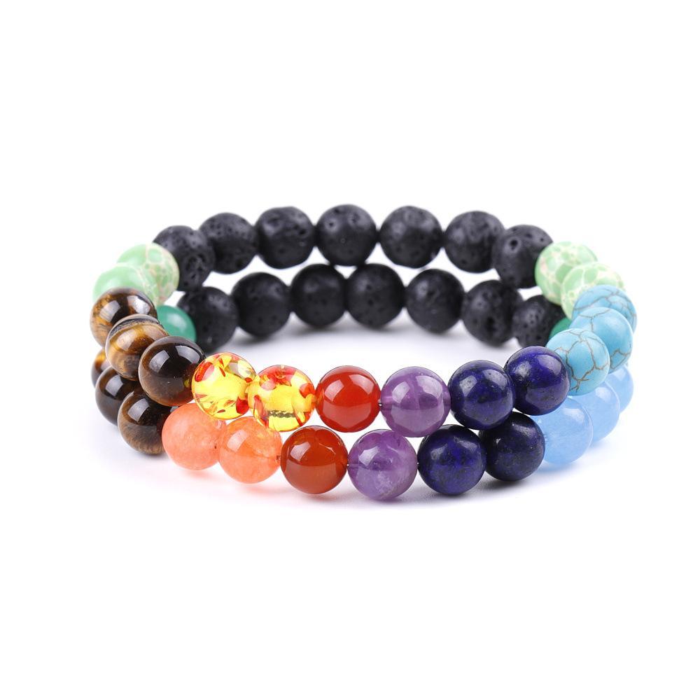 Kimter Black Lava Stone Yoga Bracelets Men Jewelry 7 Chakra Essential Oil Diffuser Elastic Natural Stones Bracelet Bangle Q410FZ
