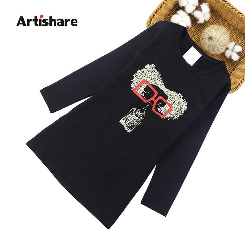 Artishare meninas vestidos primavera outono desenhos animados vestidos meninas vestido de festa adolescente para meninas 6 8 10 12 anos crianças roupas 210331