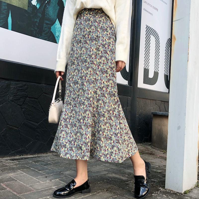 Vintage floral imprimer velours velours automne printemps femme sirène coréenne taille elastic jupe midi