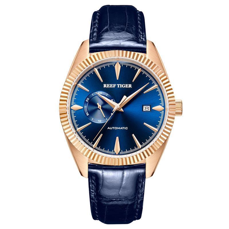 REEF TIGER / RT Top Mechaincal Uhr für Männer blaue Leder Wasserdichte Uhren Datum Relogio Masculino RGA1616 Armbanduhren