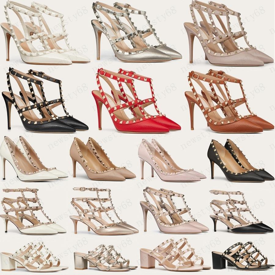 2021 مصمم النساء عالية الكعب حزب الأزياء المسامير الفتيات مثير وأشار الأحذية الرقص أحذية الزفاف أحذية مزدوجة الأشرطة الصنادل