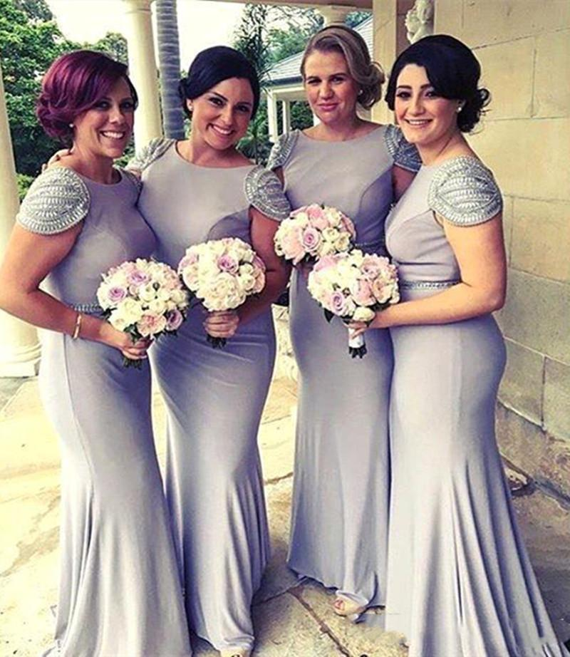 Mermaid Bridesmaid Dresses Crew Neck Zipper Backless Long Maid of Honor Gowns with Beads Cap Sleeve Formal Party Dress