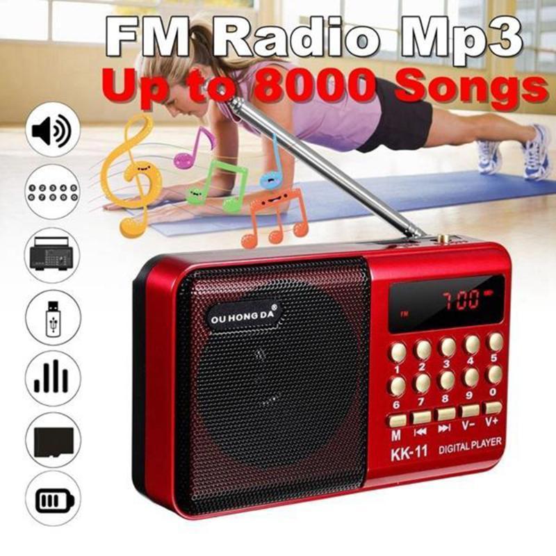 MP4 jogadores FM FM Speaker Handheld Digital USB TF MP3 player recarregável bateria operada mini portátil