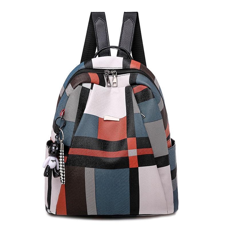 Outdoor Bags 2021 Ladies Soft PU Leather Backpacks Fashion Plaid School Shoulder For Teenage Girls Casual Daily Travel Back Pack Mochila