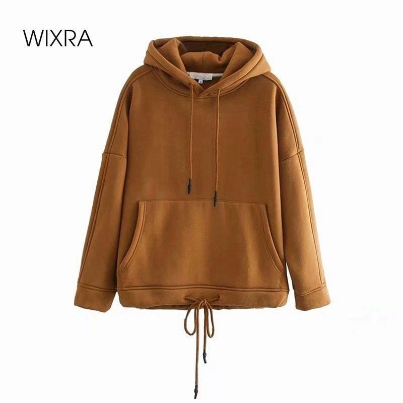 Sweats à lacets pour femmes Femme Solid Femme Sweats à capuche longue à manches longues Automne Spring Pull Casual Tops 210414