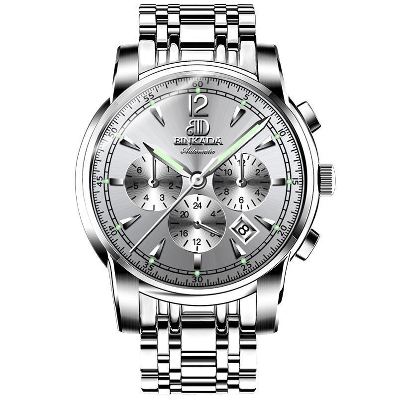 Reloj de los hombres de Binkada Gran dial mecánico Moda automática hueco impermeable impermeable luminosos relojes de pulsera