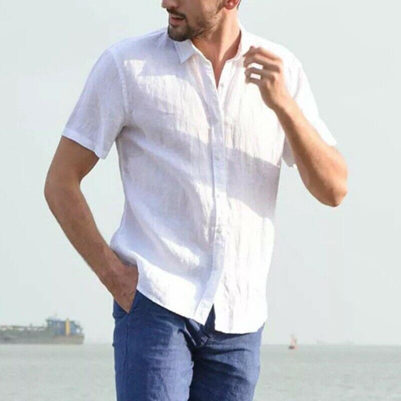 Модный стиль мужские рубашки мода и простые короткие топы с короткими рукавами лето сплошные повседневные свободные платья мягкие все-спитные тройники