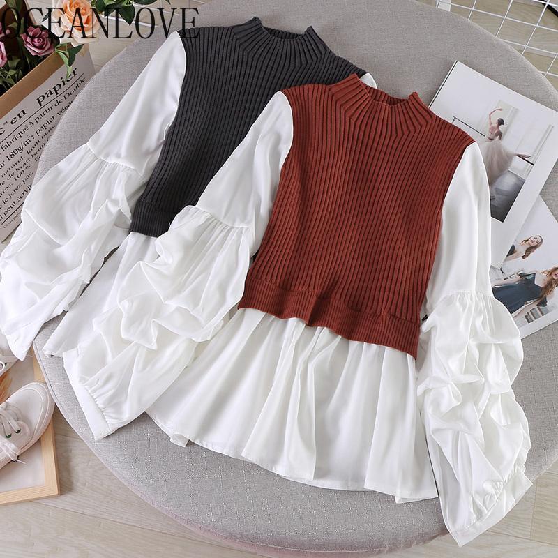 Damen Pullover Oceanlove Gestrickte Patchwork Pullover Gefälschte Zwei Stücke Frauen 2021 Slim Casual Pull Femme Mode Tops 13518