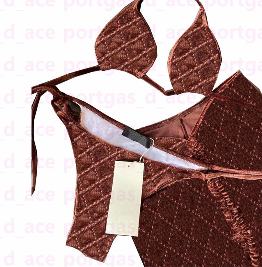 Старинные буквы бикини купальники женские сексуальные спа-салоны Beach Bras трусы платье 3 шт. Набор летних сплит бассейна купальные костюмы мода Велет купальники
