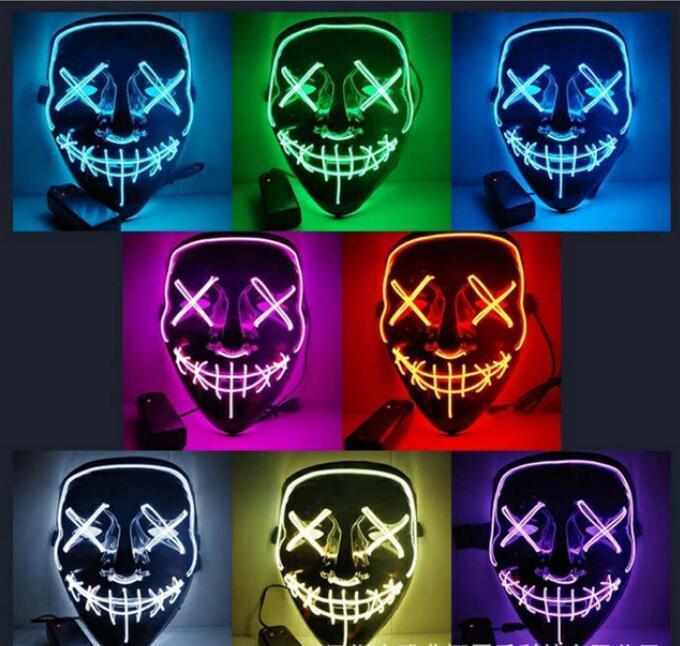 10 colors Halloween Toys LED glowing ghost face adult fluorescent party mask (without batteries)