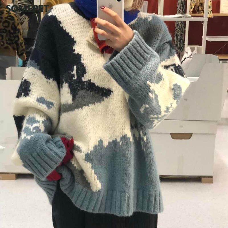 بلون مغاير بلون الطباعة سترة النساء البلوز الخريف الشتاء الكورية سميكة طويلة الأكمام متماسكة البلوز س الرقبة الدافئة البلوزات المرأة