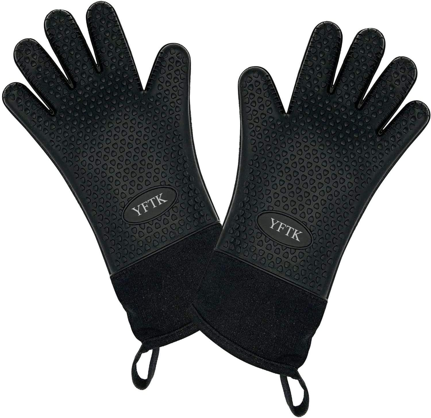 YFTK Barbecue Mitts BBQ Grill and Cooking Gloves - Heat Resistant & Long Waterproof Non-Slip Potholders Set for Barbecue, Roasting, Grilling and Baking