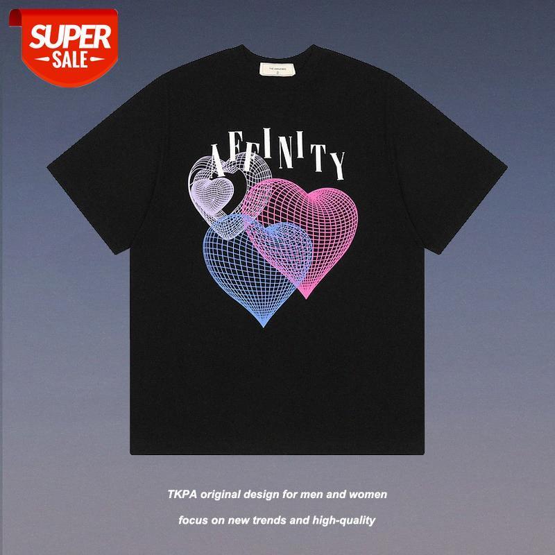 TKPA Europe et les États-Unis High Street Street Steam Wave Wave Love Impression d'un t-shirt à manches courtes Main Brand Chease Loose BF Com # P77Q