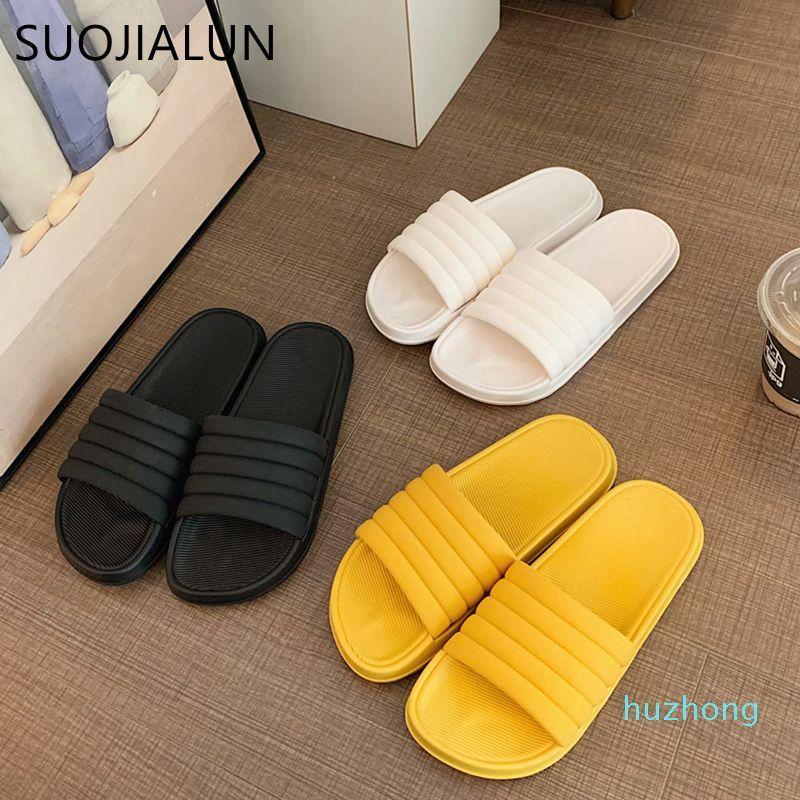 Moda-Yaz Kadın Terlik Kalın Alt Kapalı Ev Açık Toe Çevirme Banyo Kaymaz Yumuşak Slaytlar Açık Plaj Sandalet C0313