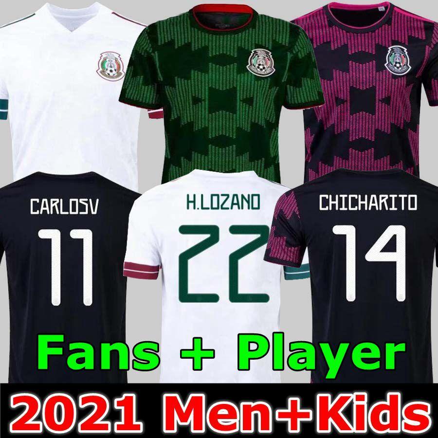 Mexico soccer jerseys Copa america Camisetas 20 21 Fans Player version CHICHARITO LOZANO DOS SANTOS 2021 football shirts Men + Kids sets kit