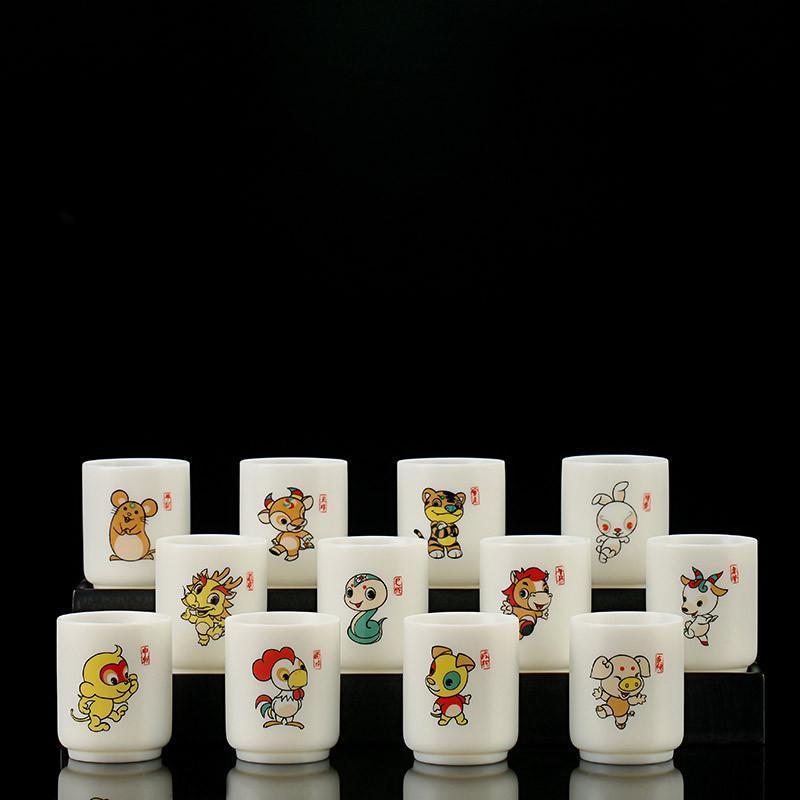 Coupes Souffeuses 12 Zodiac Céramique Théon Tasse Mouton Fat Jade Jade Shade Blanc Teach Bol Cadeau de style japonais