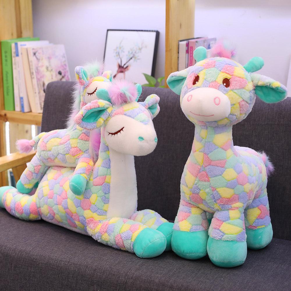 1 pc coloré dessin animé cerf peluche jouet en peluche sika cerf debout debout debout sitting zoo poupée fantaisie poupée pour enfants cadeau