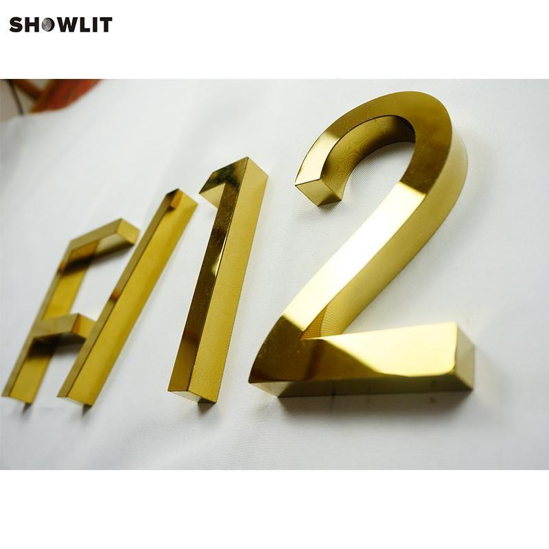 Wand montiert außerhalb der goldenen Farbe MORDERN Hausnummern Zeichen Andere Tür-Hardware