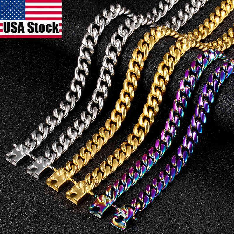Yutong 10mm Punk Rainbow Acero inoxidable Miami Cuban Link Cadena Collar para Hombre Hip Hop Joyería Oro Plata Color Cadena Metal Sólido