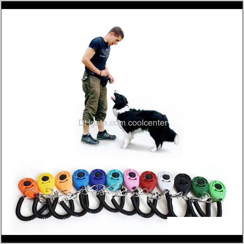 Hausgarten Drop Lieferung 2021 Pet Click Clicker Agility Trainer Aid Hund Training Gehorsam Supplies mit Teleskopseil und Hakenmischung 12 c