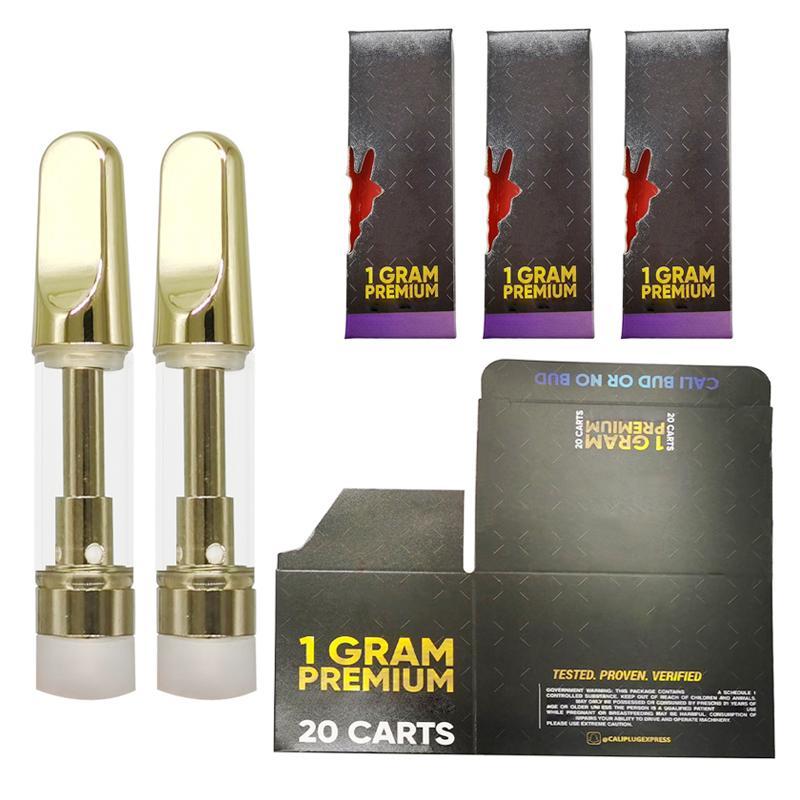 Logo Gold Vape Cartridges 0.8ml 1ml Empty Vape Pens Carts 510 Thread Thick Oil Cartridges Ecigs Vaporizer 1 Gram Packaging Box