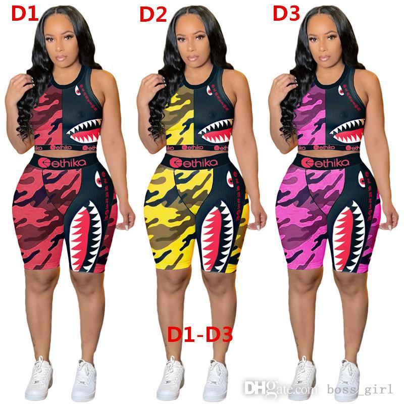 Kadınlar Ethika Sutyen Eşofmanlar Kolsuz Sütyen Yelek + Pantolon Legging İki Parçalı Set Yaz Kıyafetler ETWS3 Fitness Spor Spor Ürün