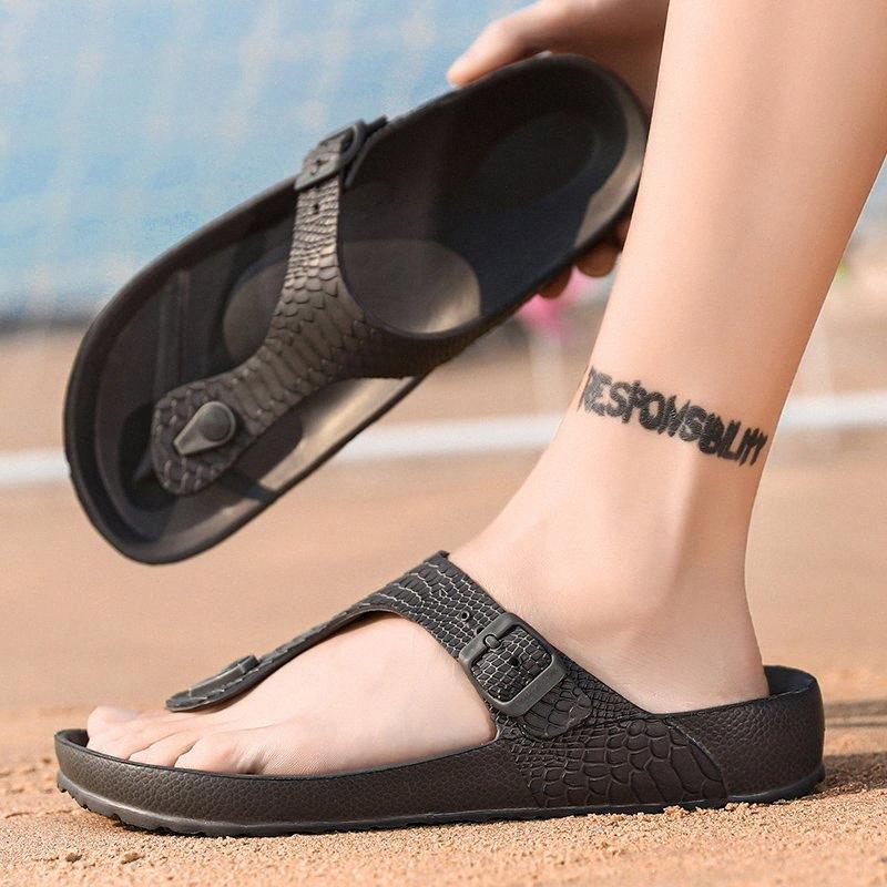 Hommes Pantoufles Summer Beach Chaussures Unisexes Sandales respirantes Lumière Male Chaussons Sports Sport Pantoufles d'extérieur Rome Flip Flop Big Taille G5MN #