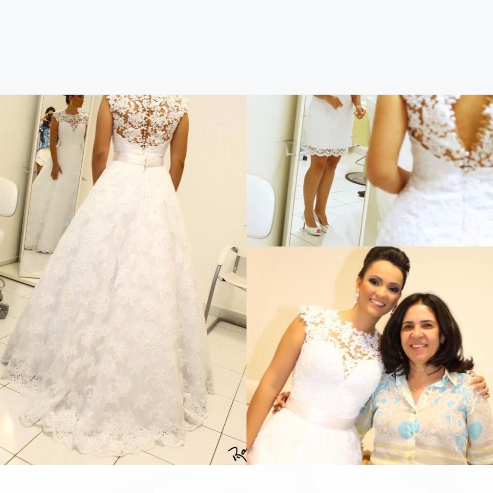 2019 Berta Vintage Lace Detachable Train Short Knee-length beach Wedding Dresses High Neck Removable Skirt Two Pieces Wedding Gown