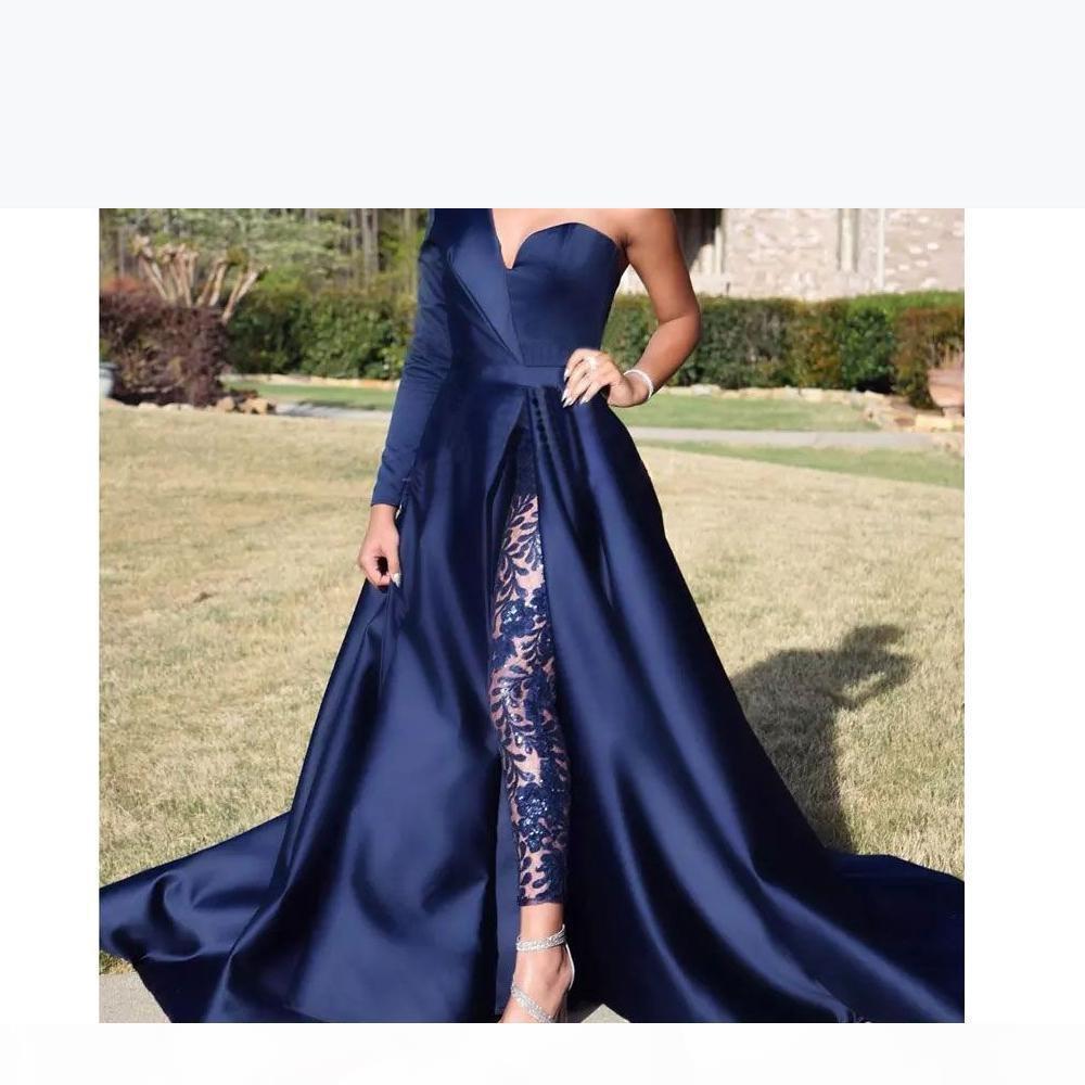 One Shoulder Long Sleeve Prom Dresses Pant Suits A Line Graduation Dresses Dark Navy Split Evening Party Gowns Jumpsuit Celebrity Dresses