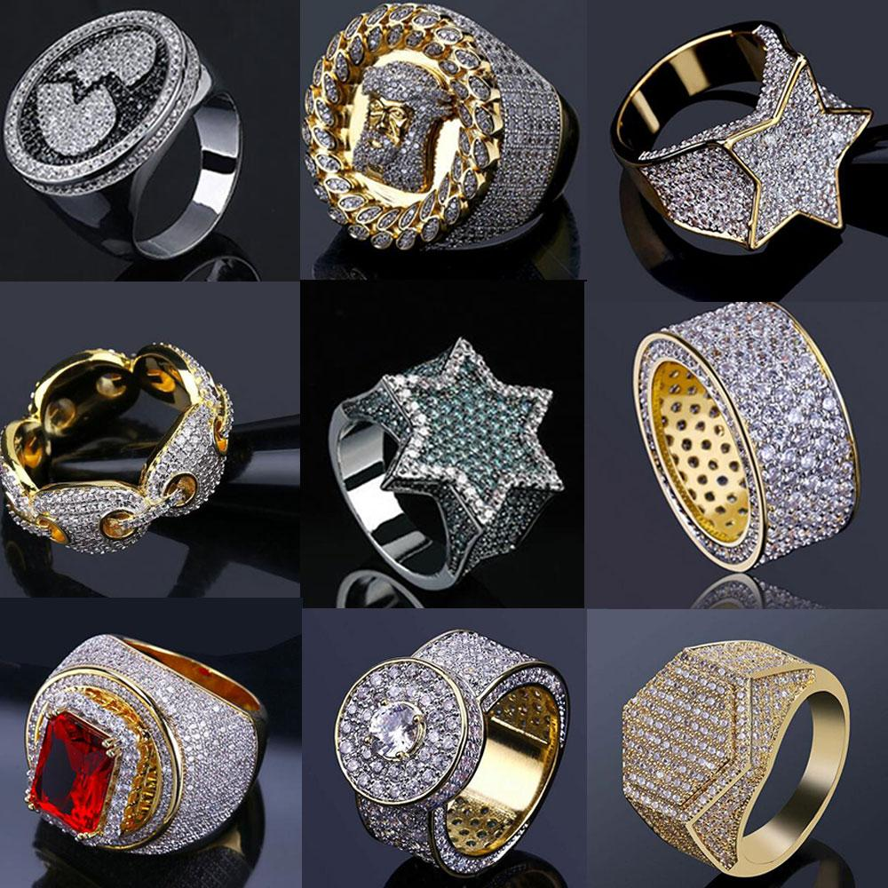 rings 14K Gold Iced Out Mens Hip Hop Jewelry Bling Cool Zirconia Stone Luxury Deisnger Men Hiphop Gifts