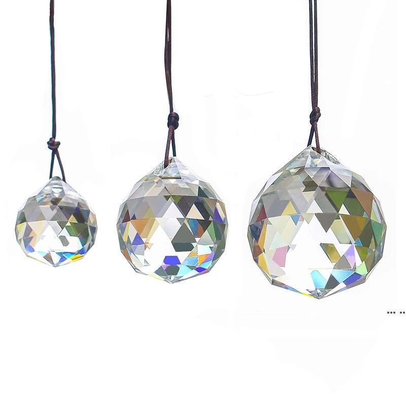 30 ملليمتر كريستال الكرة المنشور قلادة الأوجه الكريستال الزجاج المنشور مصباح السقف إضاءة شنقا الثريا قطرة الخرز الزفاف ديكور HWF6410