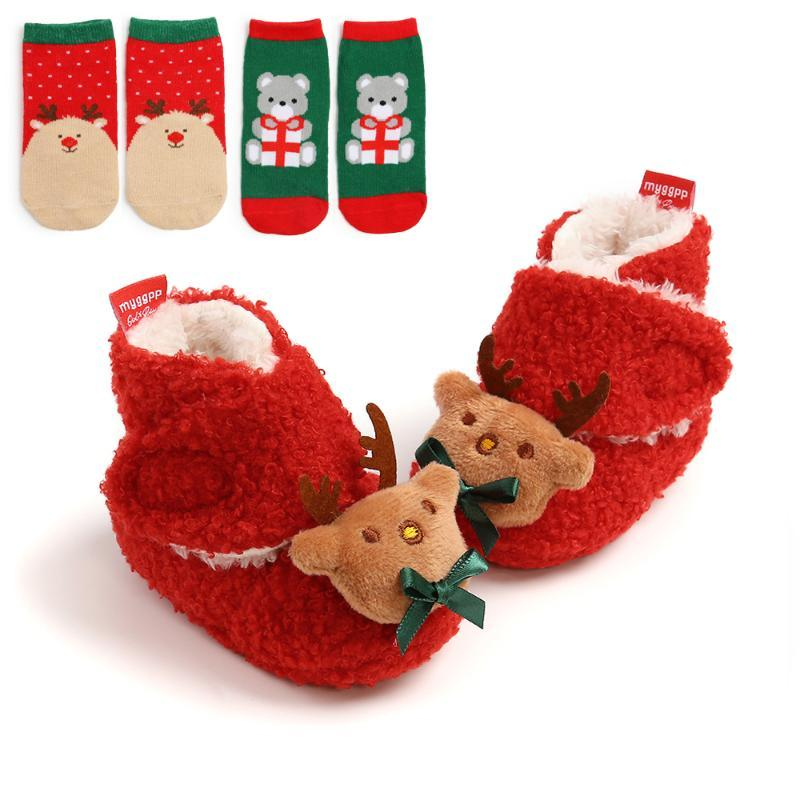 First Walkers Baby Christmas Booties And Socks Set Winter Warm Cotton Fleece Ankle Crib Shoes 3 Piece Infant 2021