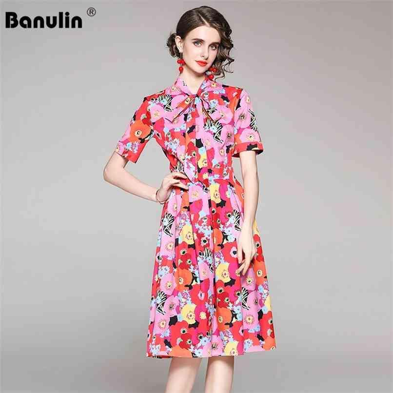 Moda runway vestido de praia verão mulheres de manga curta pescoço floral impressão senhoras a linha midi 210521