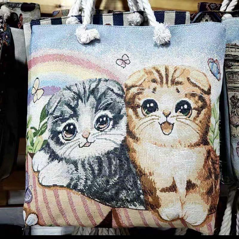 Thai style heavy rope single shoulder women's bag double side linen bagss elephant Tote Bags embroidery bagsss P053