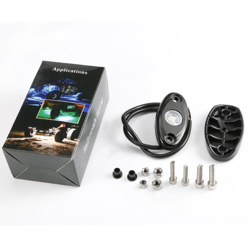 Créatif 2 pcs pouce écran imperméable IP67 9W 10-36V 3 LEDs de décoration automatique de voiture décoration rock lumière multifonction indicateur interiorexternal lumières
