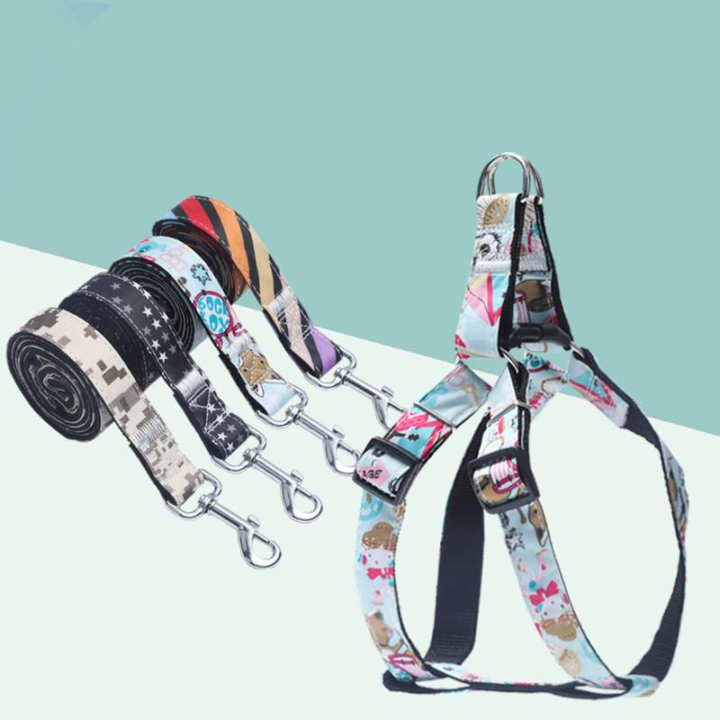Dog Harness Leash Set with 1.2m Dog Leash Size Adjustable Denim Print Harness for Dogs Pitbull Leashes Dog Supplies for Pet