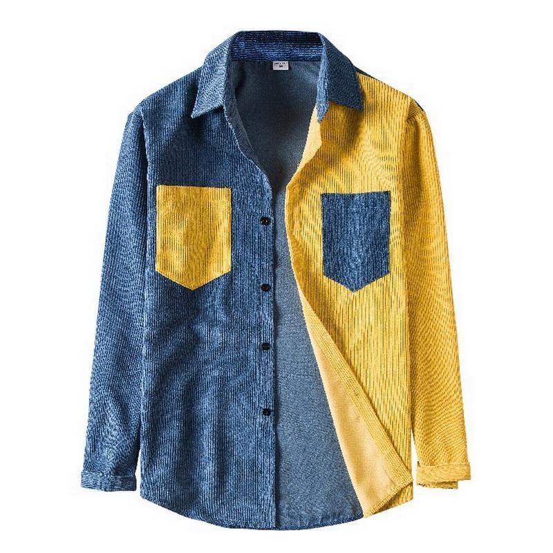 패치 워크 망 Corduroy 셔츠 다운 칼라 버튼 하라주쿠 탑 긴 소매 포켓 Streetwear 캐주얼 캐미 사미 홈 브리 남성용 셔츠