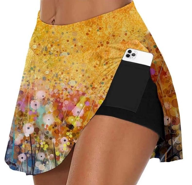 Falda de yoga para mujer 2 en 1 entrenamiento de fitness de línea de líneas Tamaño Tamaño Anti-fricción Skort Sports Faldas