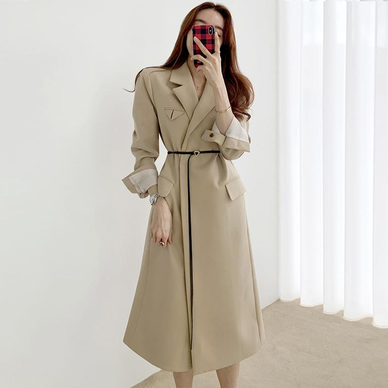 Women's Trench Coats Lapels, Temperament Elegant, Double Pockets Long Sleeves Over-the-knee Suit Coat With A Belt In The Female