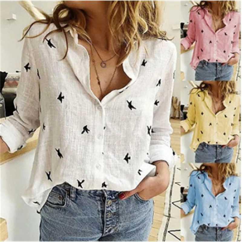 Camisa de lino de algodón flojo de la primavera y verano de 2021