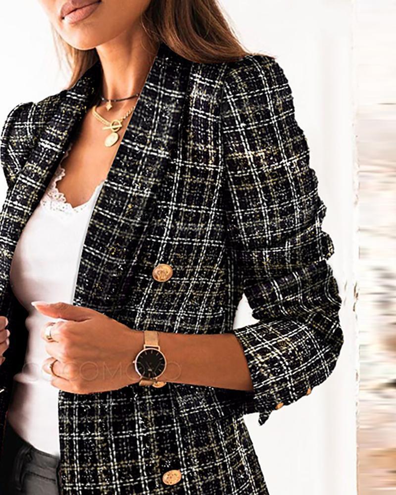 유행 격자 무늬 더블 브레스트 슈트 여성 캐주얼 슬림 자켓 코트 사무실 세련된 블레이저 봄 2021 Suits Blazers