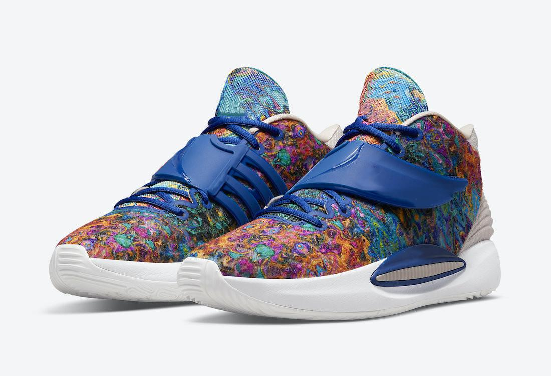 14 KD 14 مخدر أحذية كرة السلة مع صندوق 2021 Kevins Durant Deep Royal Blue Sports Size US7-US12