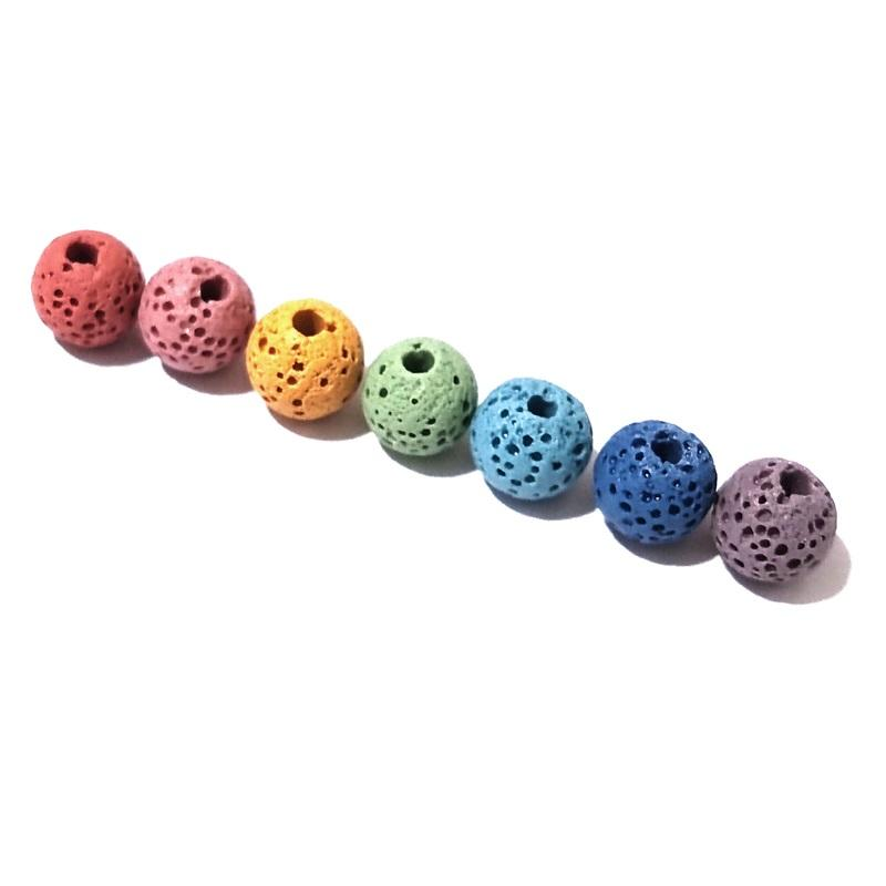 Wholesale Seven Chakras 8mm Colorful Lava stone Loose Beads Charms Beaded DIY Bracelet Necklace Jewelry Making Accessories